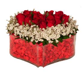 İstanbul Kadıköy online çiçek gönderme sipariş  Mika kalp içerisinde 9 adet kirmizi gül tanzimi
