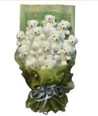 11 adet pelus ayicik buketi  İstanbul Kadıköy online çiçek gönderme sipariş