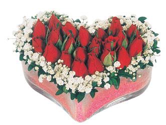 İstanbul Kadıköy çiçekçi telefonları  mika kalpte kirmizi güller 9