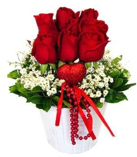 9 kırmızı gül seramik ve kalp çubuk  İstanbul Kadıköy çiçek gönderme