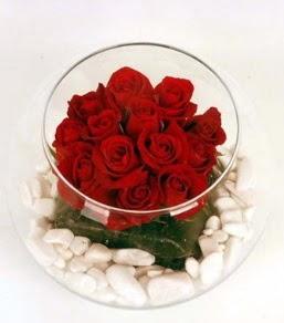 Cam fanusta 11 adet kırmızı gül  İstanbul Kadıköy çiçek gönderme