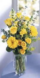 İstanbul Kadıköy online çiçek gönderme sipariş  sari güller ve gerbera cam yada mika vazo