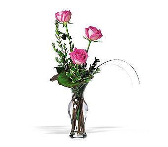 İstanbul Kadıköy çiçekçiler  3 adet pembe güller cam yada mika vazo tanzim