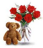 vazoda 6 adet gül ve oyuncak  İstanbul Kadıköy çiçek yolla , çiçek gönder , çiçekçi