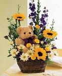 karisik aranjman ve ayicik   İstanbul Kadıköy çiçek gönderme