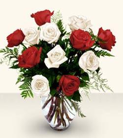 İstanbul Kadıköy uluslararası çiçek gönderme  6 adet kirmizi 6 adet beyaz gül cam içerisinde