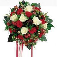 İstanbul Kadıköy ucuz çiçek gönder  6 adet kirmizi 6 adet beyaz ve kir çiçekleri buket