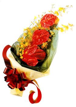 özel 5 adet antorium buketi   İstanbul Kadıköy çiçek gönderme sitemiz güvenlidir