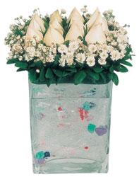 İstanbul Kadıköy çiçekçi mağazası  7 adet beyaz gül cam yada mika vazo tanzim