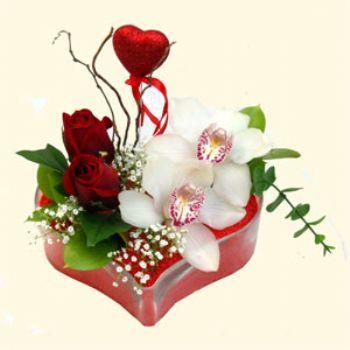 İstanbul Kadıköy hediye sevgilime hediye çiçek  1 kandil orkide 5 adet kirmizi gül mika kalp