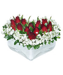 İstanbul Kadıköy internetten çiçek siparişi  mika kalp içerisinde 9 adet kirmizi gül