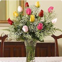 İstanbul Kadıköy internetten çiçek siparişi  renkli gül 11 adet çiçekçi den cam yada mika vazo tanzimi
