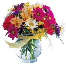 İstanbul Kadıköy internetten çiçek satışı  cam yada mika içerisinde karisik mevsim çiçekleri