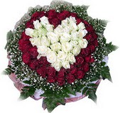İstanbul Kadıköy çiçek mağazası , çiçekçi adresleri  27 adet kirmizi ve beyaz gül sepet içinde