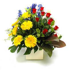 İstanbul Kadıköy online çiçek gönderme sipariş  9 adet gül ve kir çiçekleri cam yada mika vazoda