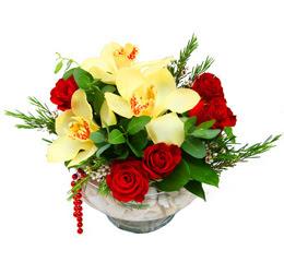 İstanbul Kadıköy çiçek gönderme  1 adet orkide 5 adet gül cam yada mikada