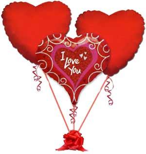 İstanbul Kadıköy online çiçek gönderme sipariş  3 adet büyük boy kalp uçan balon