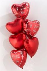 İstanbul Kadıköy İnternetten çiçek siparişi  6 adet kirmizi folyo kalp uçan balon buketi