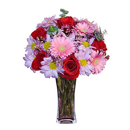 Görsel hediye karisik cam mevsim demeti  İstanbul Kadıköy çiçekçi mağazası