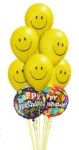 15 adet gülen dogum günü uçan balonlari