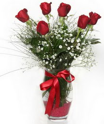 7 adet gülden cam içerisinde güller  İstanbul Kadıköy 14 şubat sevgililer günü çiçek