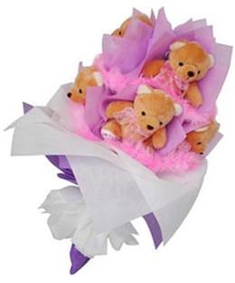 9 adet ayiciktan buket  İstanbul Kadıköy hediye sevgilime hediye çiçek