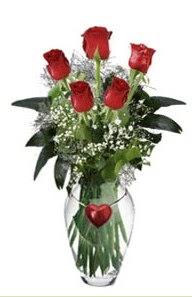İstanbul Kadıköy internetten çiçek siparişi  5 adet kirmizi gül ve kalp çubuklu