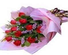 11 adet kirmizi güllerden görsel buket  İstanbul Kadıköy çiçek gönderme sitemiz güvenlidir