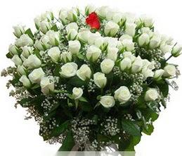 İstanbul Kadıköy internetten çiçek satışı  100 adet beyaz 1 adet kirmizi gül buketi