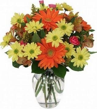 İstanbul Kadıköy hediye sevgilime hediye çiçek  vazo içerisinde karışık mevsim çiçekleri