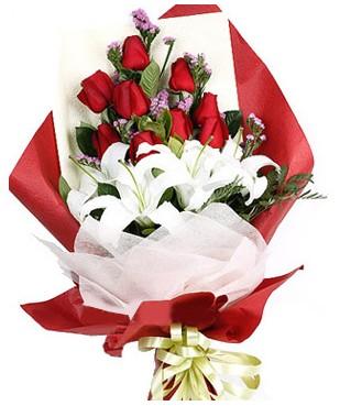 İstanbul Kadıköy çiçekçiler  1 dal kazablankaa 9 adet kırmızı gül buketi
