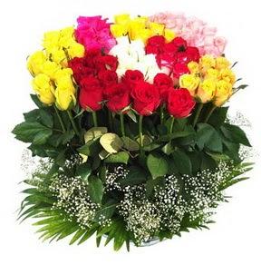 İstanbul Kadıköy çiçek mağazası , çiçekçi adresleri  51 adet renkli güllerden aranjman tanzimi