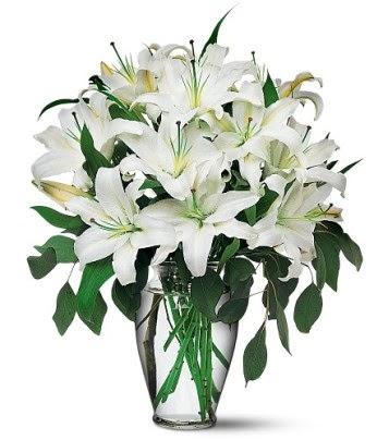 İstanbul Kadıköy internetten çiçek satışı  4 dal kazablanka ile görsel vazo tanzimi