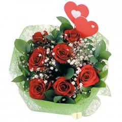 İstanbul Kadıköy internetten çiçek satışı  7 adet kırmızı gül ve 2 adet kalp çubuk