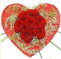 Mika kalp içerisinde 7 adet kırmızı gül  İstanbul Kadıköy çiçekçi mağazası
