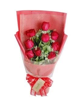 9 adet kırmızı gülden görsel buket  İstanbul Kadıköy ucuz çiçek gönder