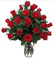 İstanbul Kadıköy çiçek siparişi sitesi  24 adet kırmızı gülden vazo tanzimi