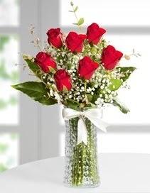 Cam vazoda 7 adet kırmızı gül  İstanbul Kadıköy çiçek , çiçekçi , çiçekçilik