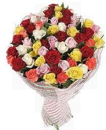 51 adet rengarenk gül buketi  İstanbul Kadıköy çiçek mağazası , çiçekçi adresleri
