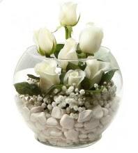 11 adet beyaz gül cam fanus çiçeği  İstanbul Kadıköy çiçek mağazası , çiçekçi adresleri