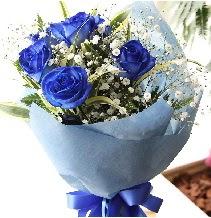 5 adet mavi gülden buket çiçeği  İstanbul Kadıköy çiçek satışı