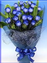 19 adet eşsiz mavi gül buketi  İstanbul Kadıköy uluslararası çiçek gönderme
