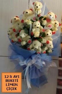 12 Adet ayıcıktan peluş ayı buketi  İstanbul Kadıköy çiçek yolla