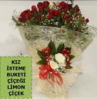 27 adet kırmızı gülden kız isteme buketi  İstanbul Kadıköy çiçek satışı