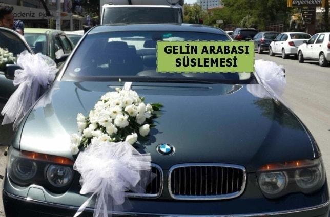 Gelin Arabası süslemesi Düğün arabası  İstanbul Kadıköy çiçek yolla