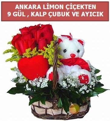 Kalp çubuk sepette 9 gül ve ayıcık  İstanbul Kadıköy çiçekçi telefonları