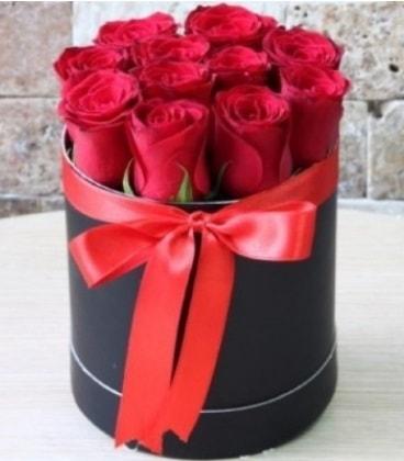 Kutu içerisinde 9 adet kırmızı gül  İstanbul Kadıköy çiçekçiler