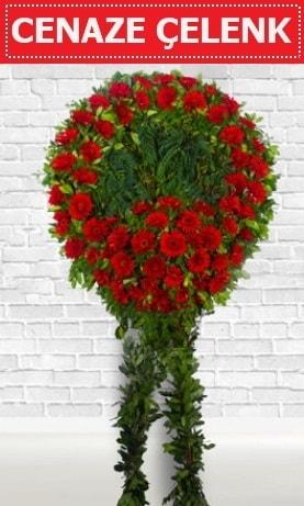Kırmızı Çelenk Cenaze çiçeği  İstanbul Kadıköy İnternetten çiçek siparişi