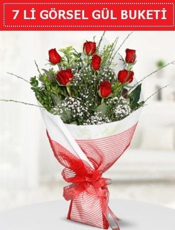 7 adet kırmızı gül buketi Aşk budur  İstanbul Kadıköy çiçek satışı