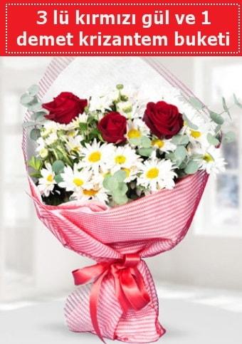 3 adet kırmızı gül ve krizantem buketi  İstanbul Kadıköy çiçek gönderme sitemiz güvenlidir